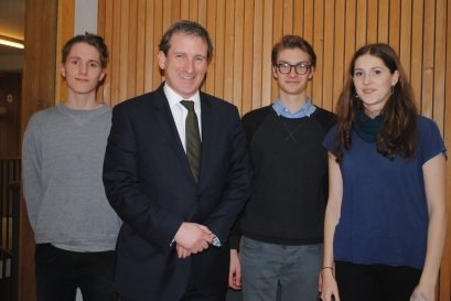 MP Damian Hinds and Bedales students